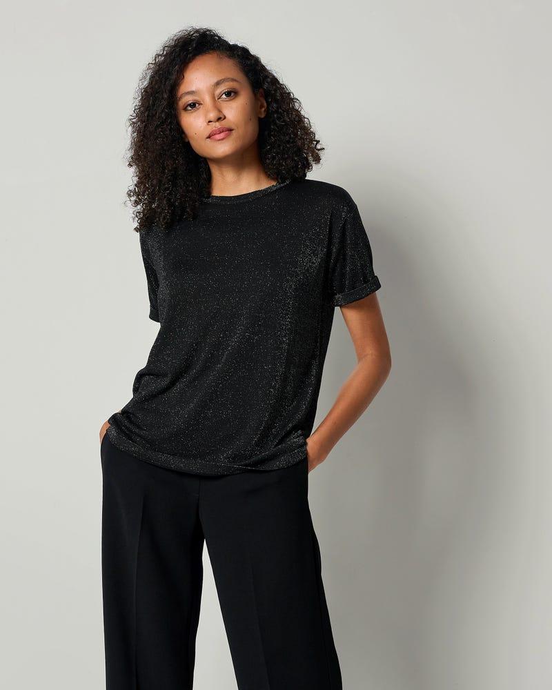 LILYSHEENA | T-shirt in maglia di seta scintillante