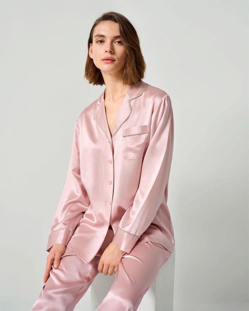 Pijamas de Mujer Seda con Ribete de Riamantes de Imitación