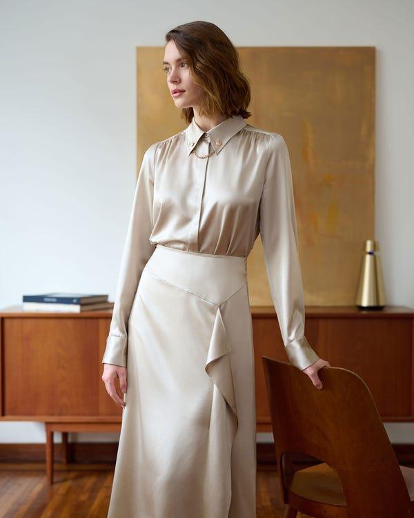 Zijden blouse met metalen ketting Bright Coffee XL