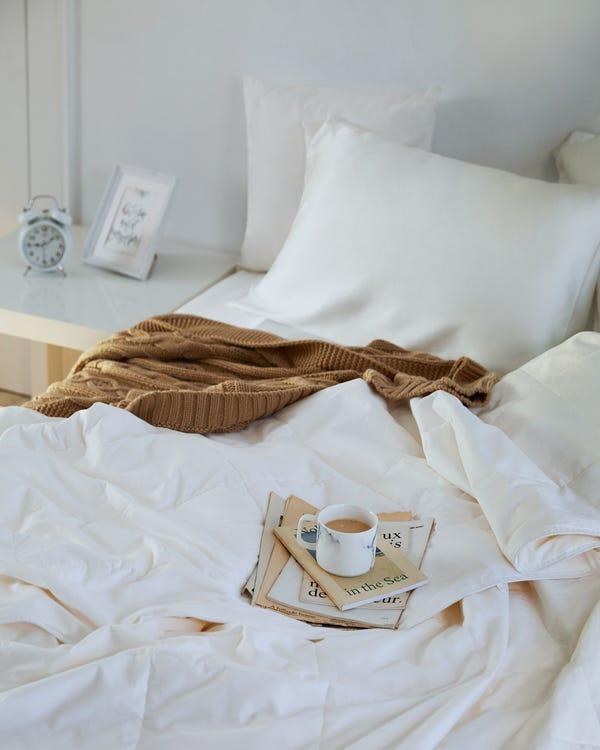 Seide Füllung Bettdecke Mit Baumwolle Hülle Weiß Waschbar