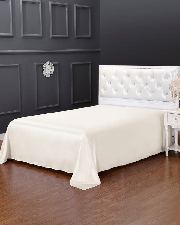 19 Momme Seamless Silk Flat Sheet Ivory Cal.King
