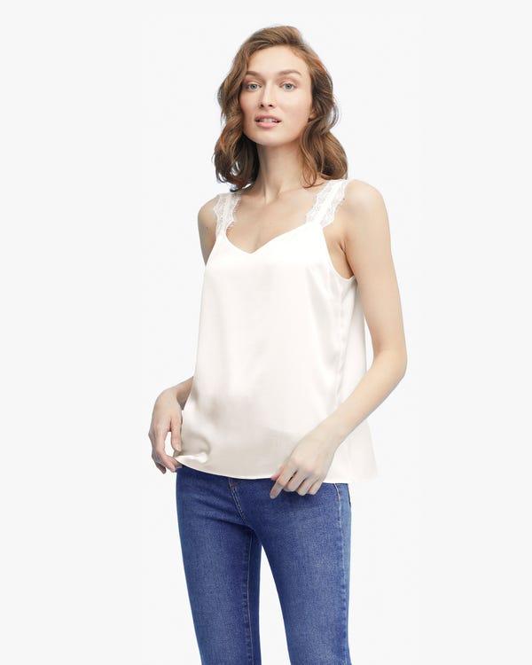 Elegant V-Neck Silk Camisole With Lace