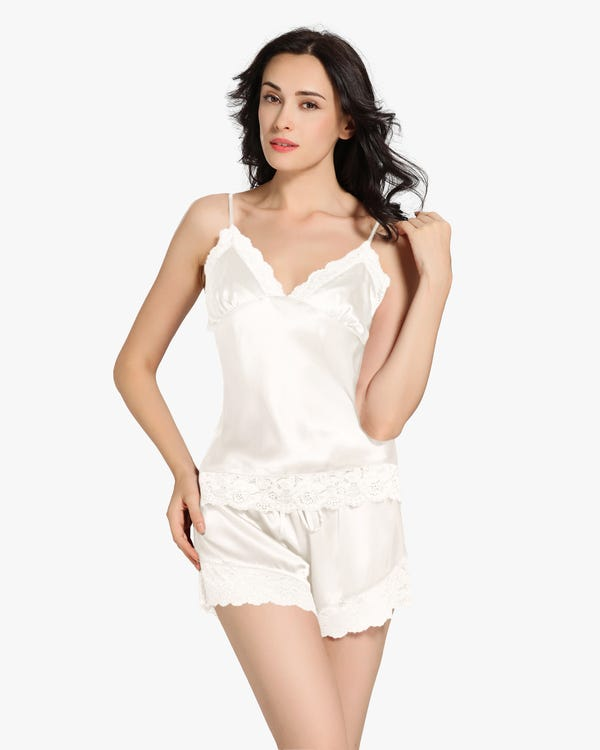 22 Momme Lace Zijden Camisole Set