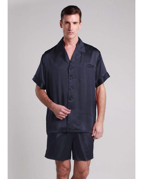 22 Momme Conjunto de Pijamas de Seda Clásico Corto