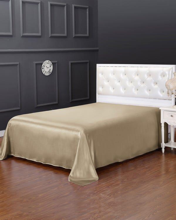19 Momme Seamless Silk Flat Sheet Taupe King