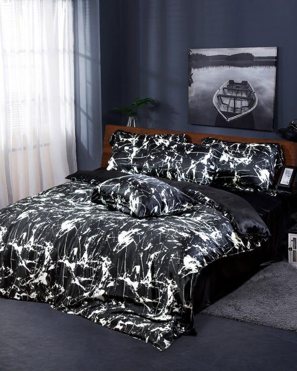 19MM Juegos de Sábanas 3 Piezas Estampado Mármol Black Marble Print 210x280cm-150x200+30cm-45x110cm