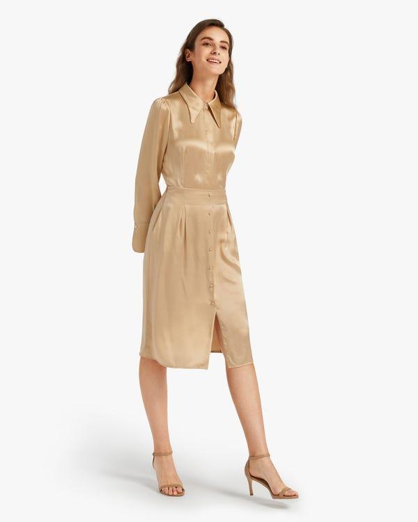 Side Zippered Stretch Silk Drape Skirt