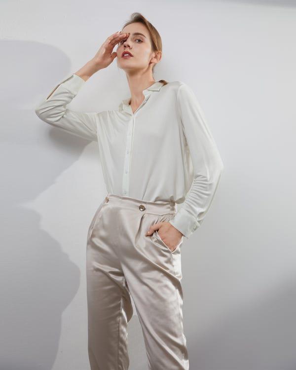 Basic Button-Down Silk Knit Shirt