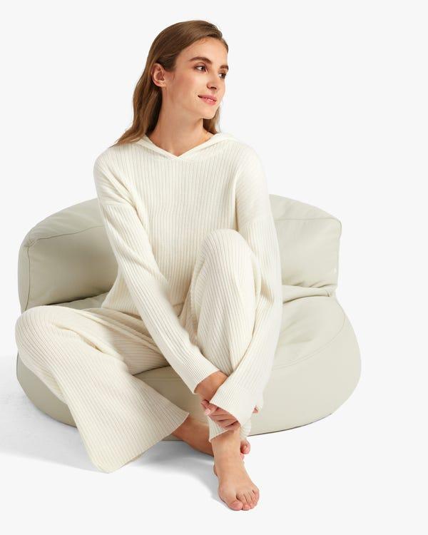 Pantalones Anchos Casuales de Cachemir White S