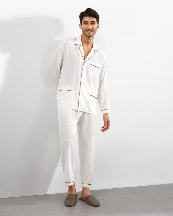 18 Momme Juegos de Pijamas Seda con Cuello de Solapa White XL