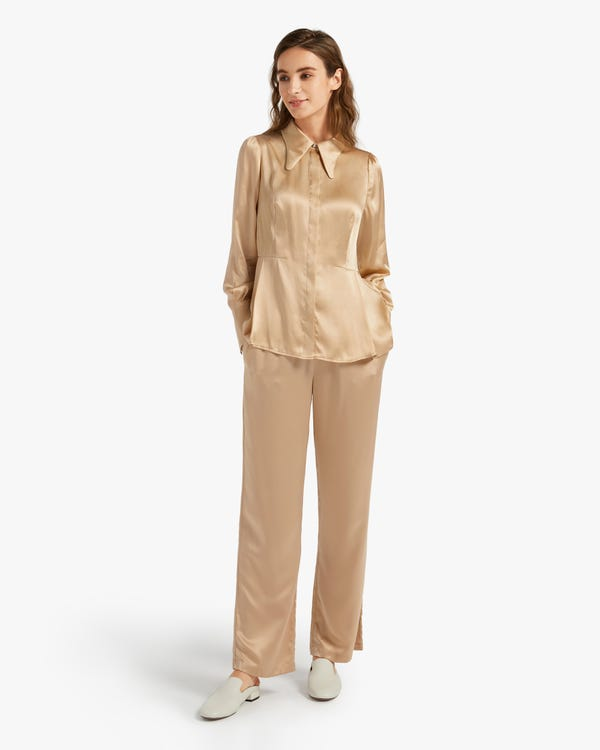 Stretch Silk Blouse With Wide Sleeve Cuff