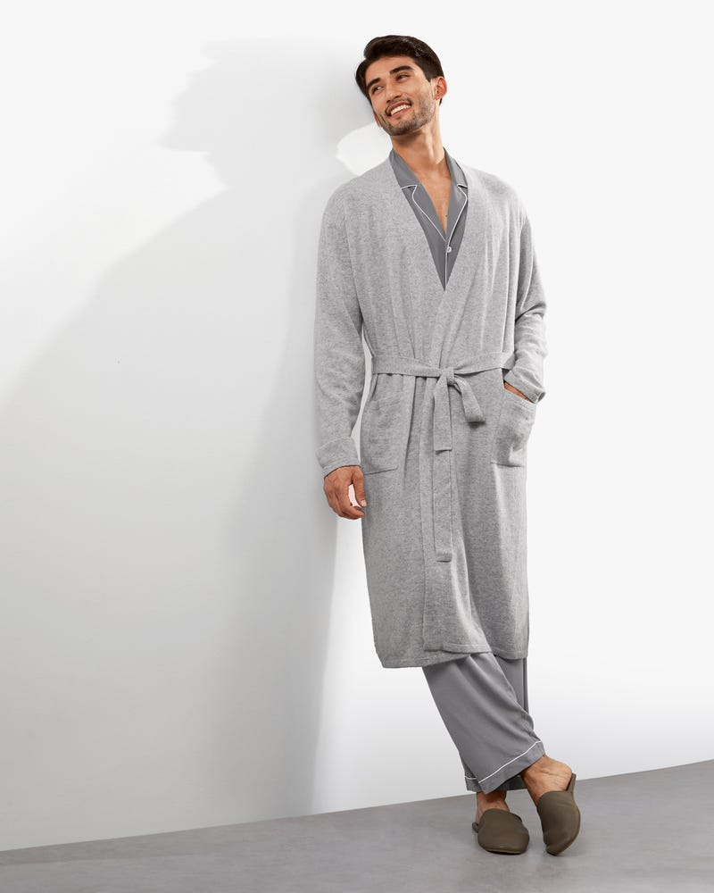 Pure Cashmere Knit Robe For Men