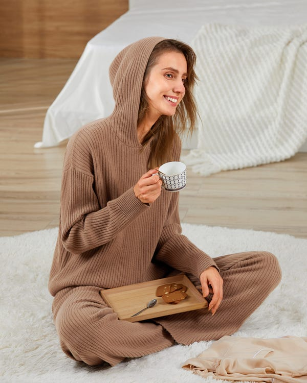 Ribbed Pure Cashmere Hoodie