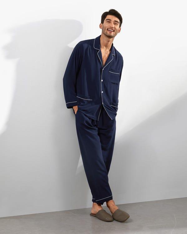18 Momme Juegos de Pijamas Seda con Cuello de Solapa