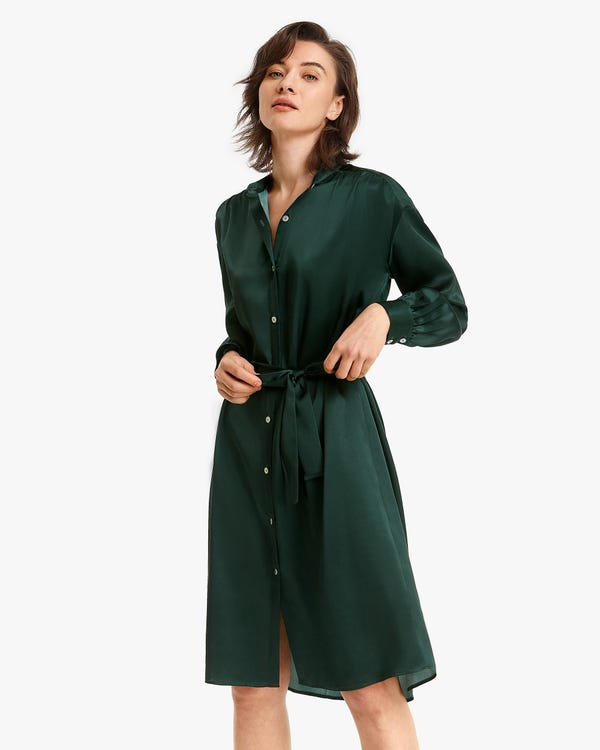 Riemchen Seide Hemdkleid mit Gürtel Fir-Green M-hover