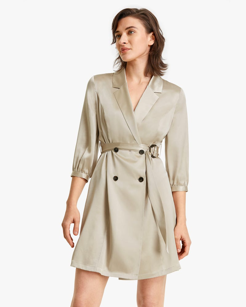 Lapel Collar Double-breasted Mid-sleeve Silk Dress