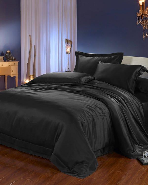 22 Momme Seamless Silk Duvet Cover Black King
