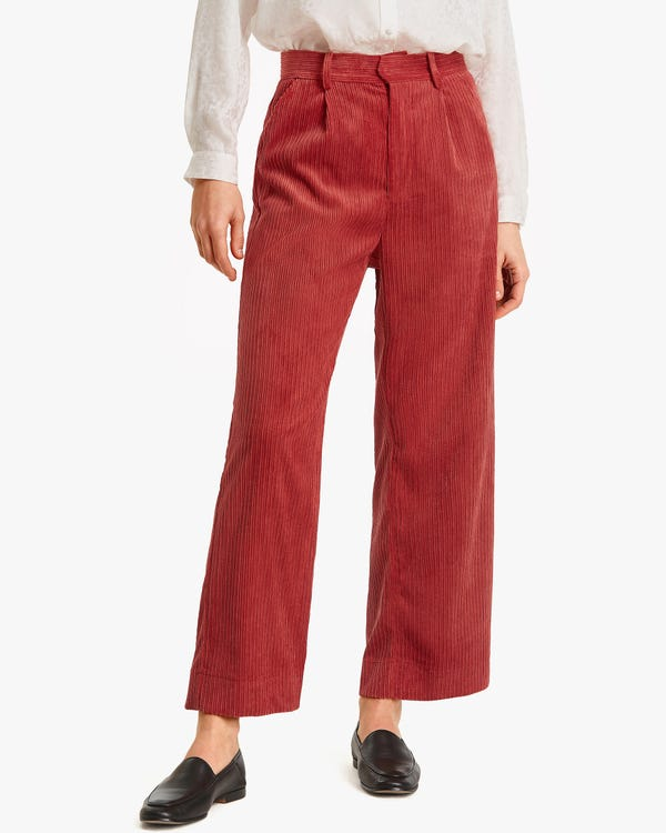 Effortless Straight Leg Corduroy Pants Aura-Orange 32B