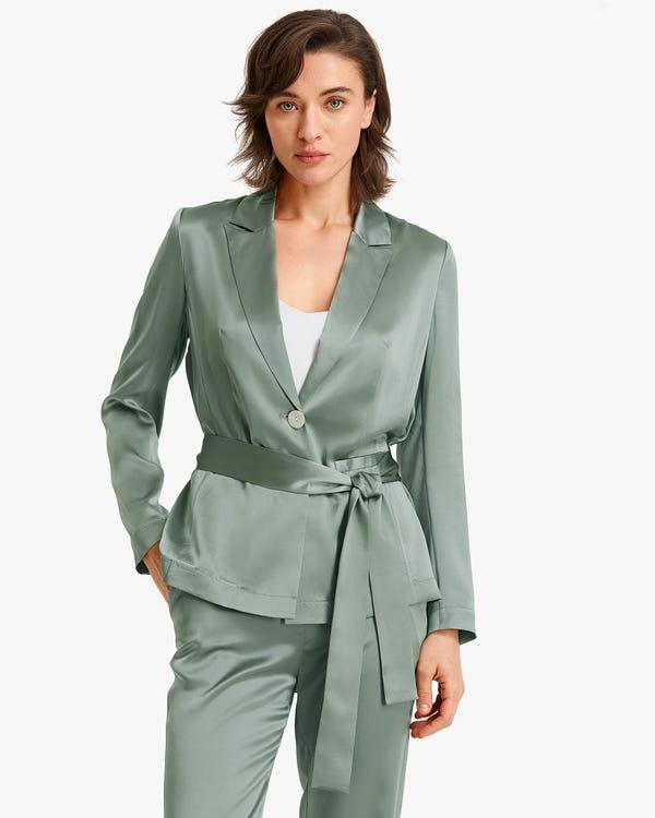 Premium Belted Women silk Blazer