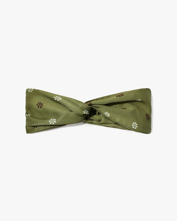 Edelweiss Print Silk Twisted Headband