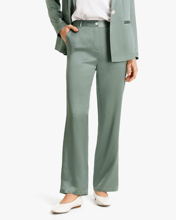 Mid-rise Straight-Leg Women Silk Pants
