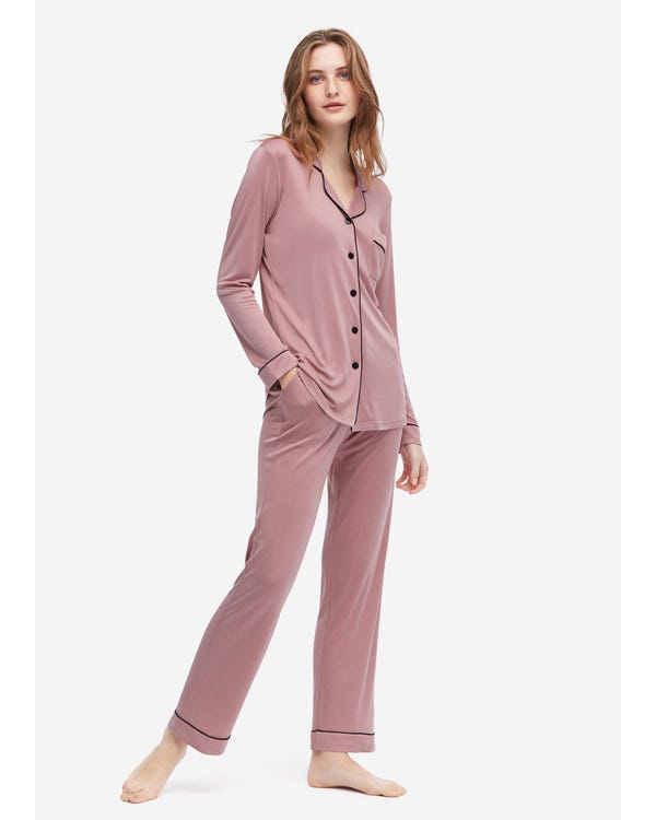 Elegant Lapel Collar Silk Pajamas Set for Women