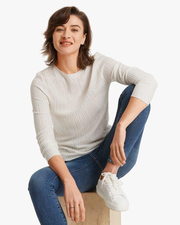 Plissee Seidenstrick T-Shirt Natural-White L