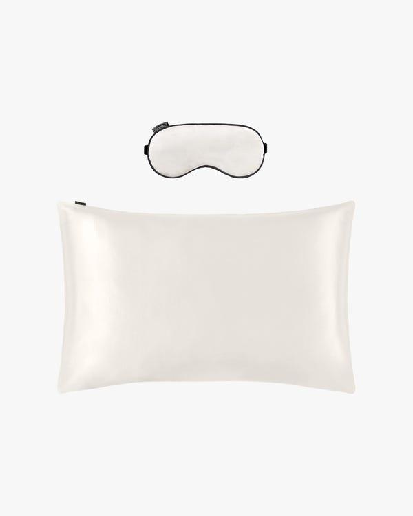 19 MM Housewife Silk Pillowcase with Hidden Zipper and Silk Sleep Eye Mask Set