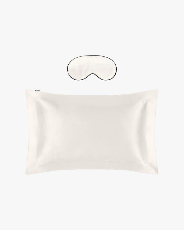 19 MM Oxford Silk Pillowcase and Silk Sleep Eye Mask Set