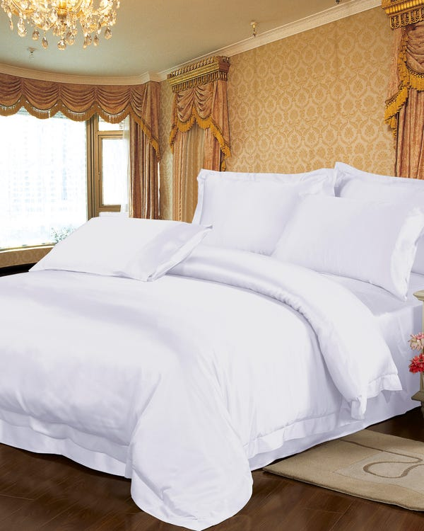 22 Momme Seamless Silk Duvet Cover White Full
