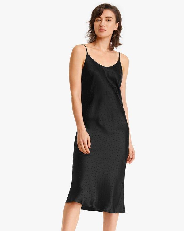 Polka Dot Jacquard Seide Cami-Kleid Black S