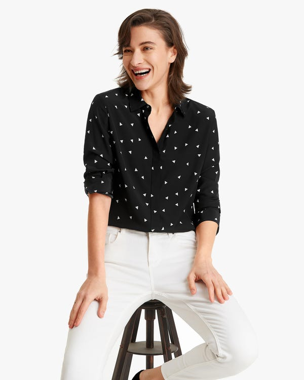 Small-triangles Printed Silk Women Shirt White-Triangles XXL