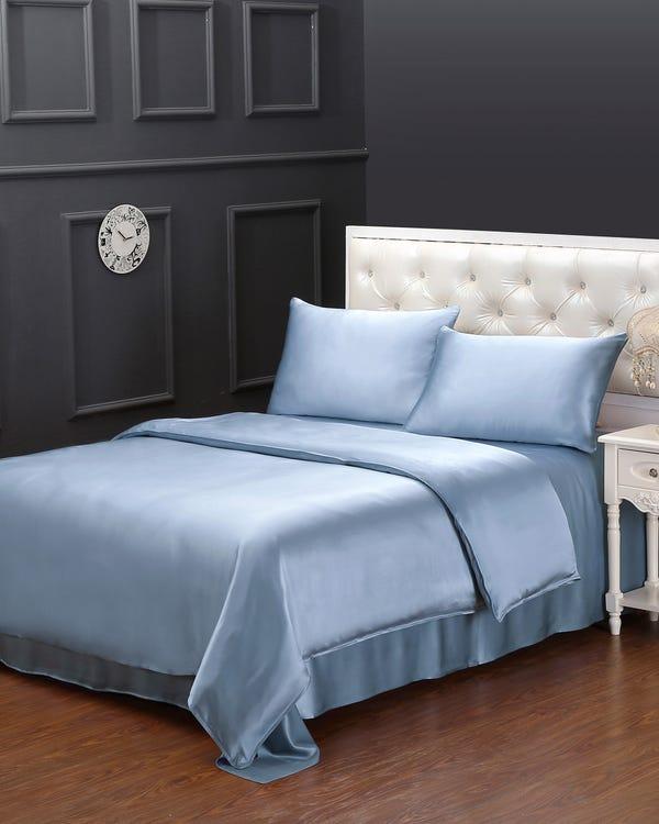 19MM 3PCS Duvet Cover Set Light Blue Full