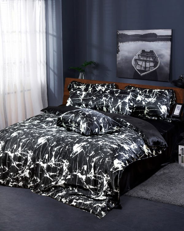 19MM 3PC Black Marbling Print Silk Duvet Cover Set Black Marble Print Full