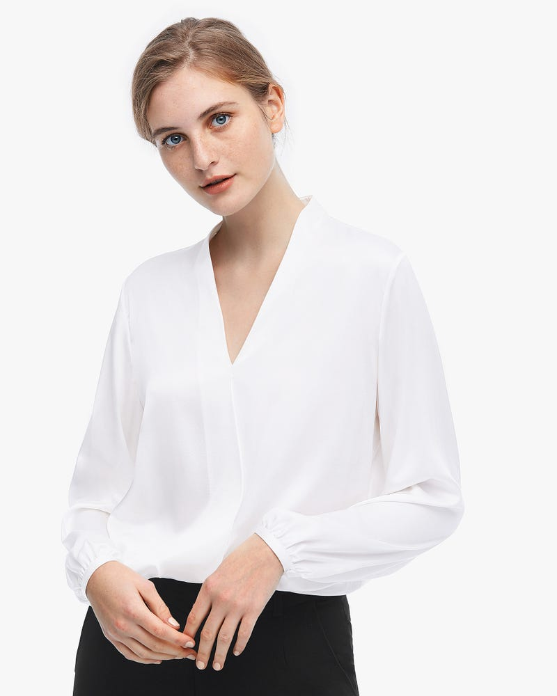 Relaxed Long Sleeve Surplice Silk Top