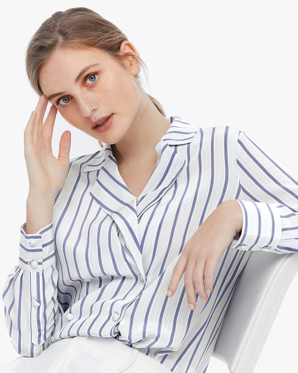 Vintage Double Breasted Silk Striped Blouse