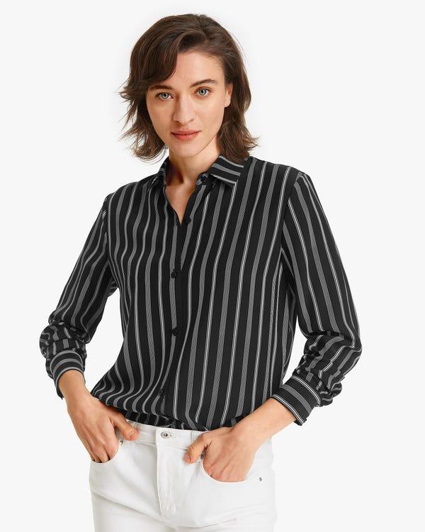 Classic stripes Printed Women Shirt Chic-White-Stripes XXL