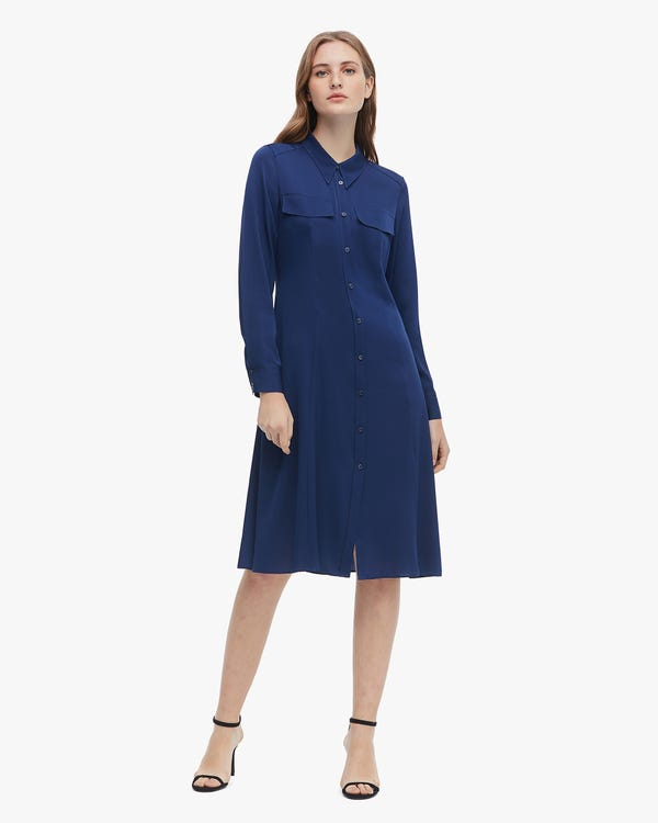 Basic Long Sleeve Silk Shirt Dress