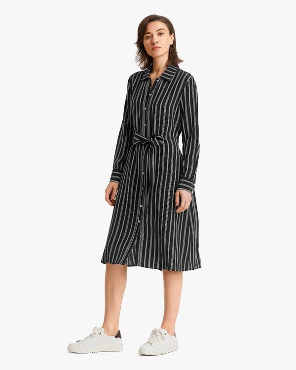 Gestreiftes Midi Seide Hemdkleid Chic-White-Stripes M