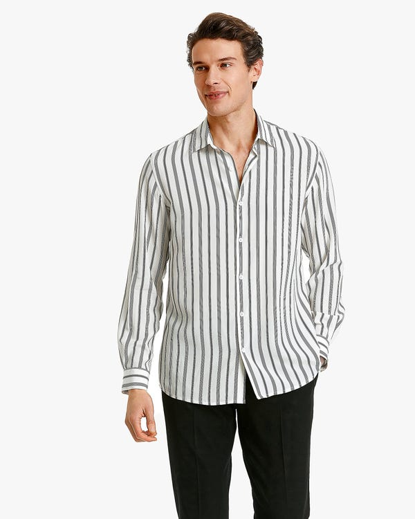 Classic stripes Printed Men Shirt Chic-Black-Stripes XL