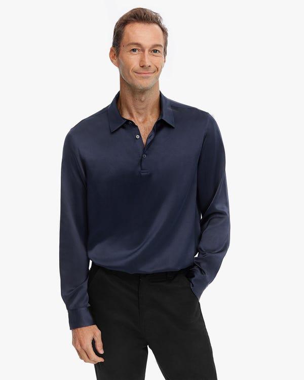 Reine Farbe Seide Herren Poloshirt Navy Blue M