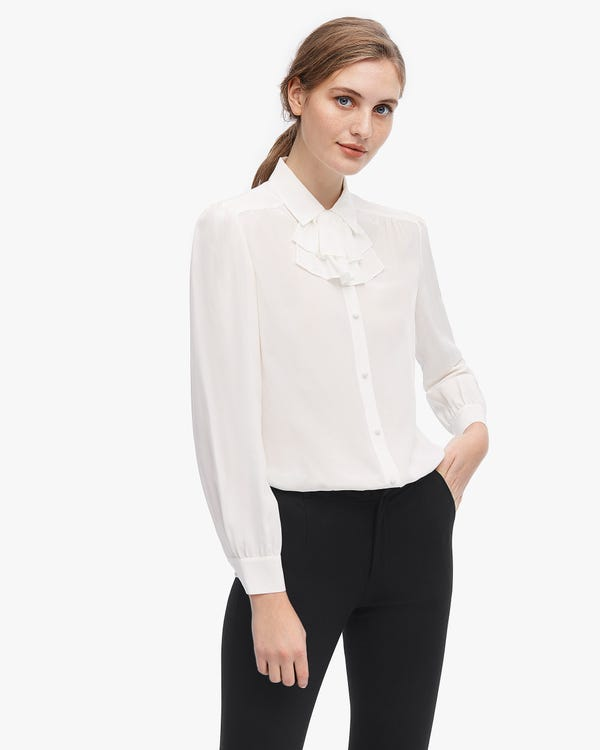Feminine Detachable Ruffle Silk Blouse