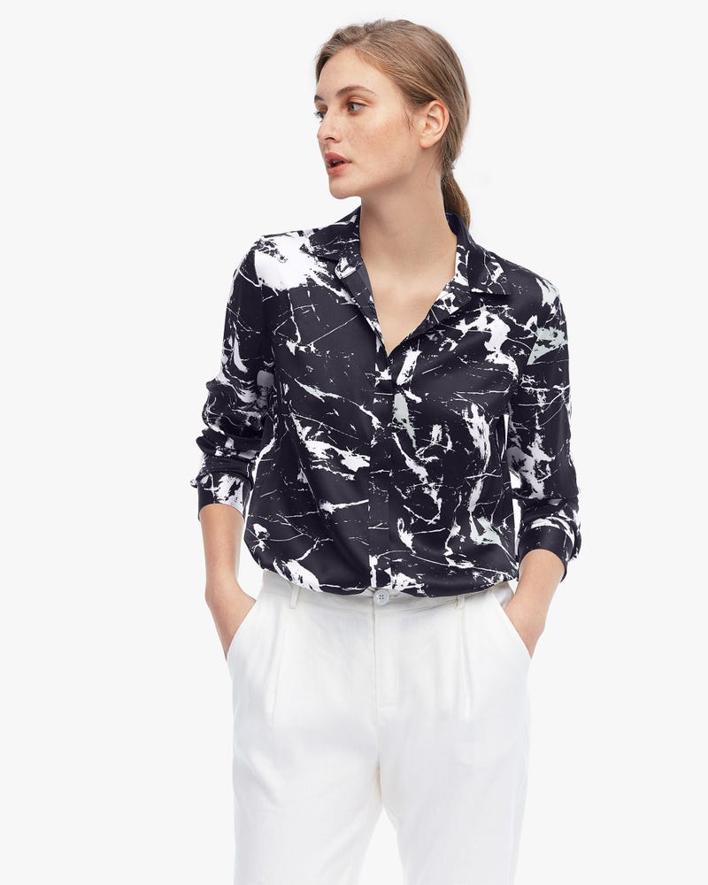 Abstract Marbling Print Silk Blouse