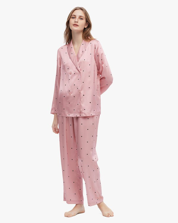 Lovely Dotted Silk Pajamas Set