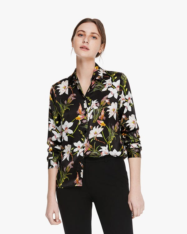 Stylish Lily Print Silk Blouse