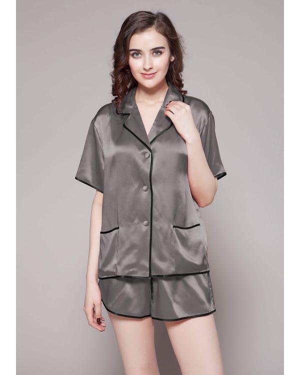 22 Momme Conjunto de Pijama de Seda Contra Corto Gris Oscuro XS