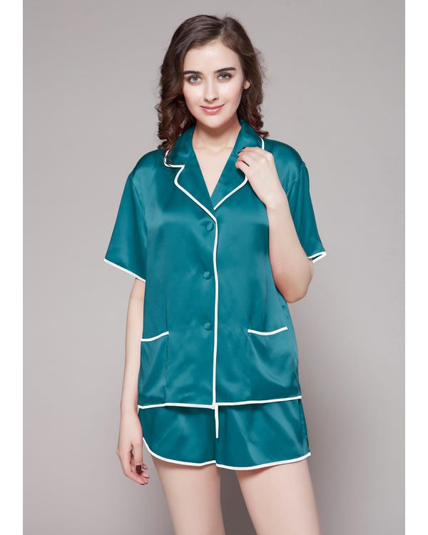 22 Momme Contra Short Silk Pajama Set-hover