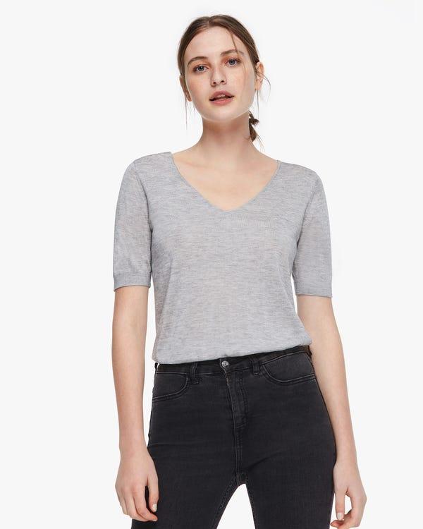 T-shirt da donna in misto seta lavorata a maglia