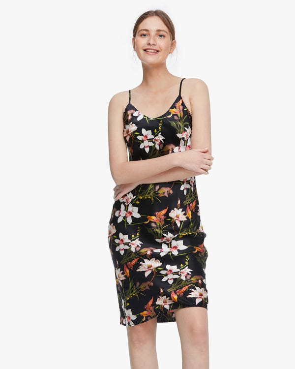 Lily floral Print Silk Slip Dress