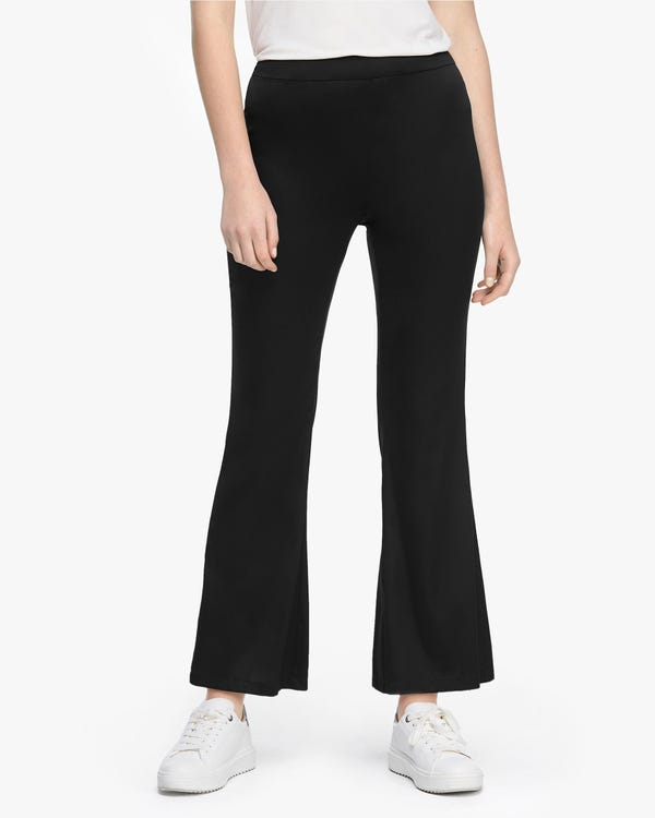 High Rise Silk Flared Pants Black 29B
